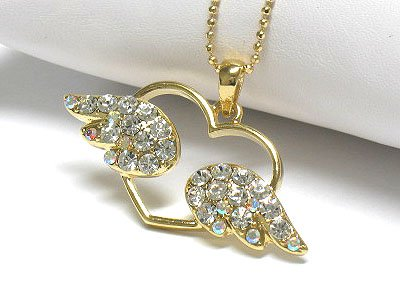 Crystal flying angel heart peandant necklace(J1241GD-5898)