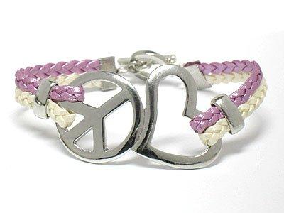 Peace symbol braided bracelet(Y11145PP-12654)