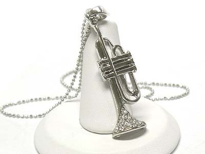 Crystal trumpet pendant necklace(E1237SL-112443)