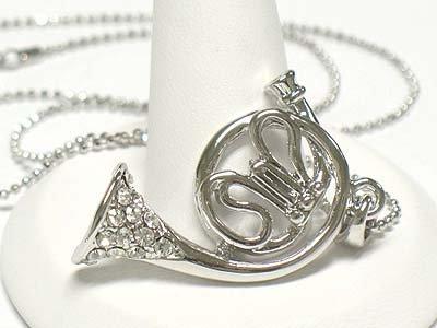 Crystal horn pendant necklace(E1237SL-112440)