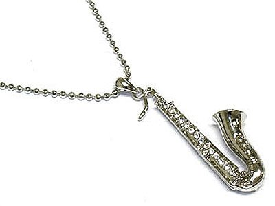 Crystal saxophone necklace(S1247CL-33009)