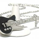 Enameled metal large guitar necklace(J1241BK-41355)