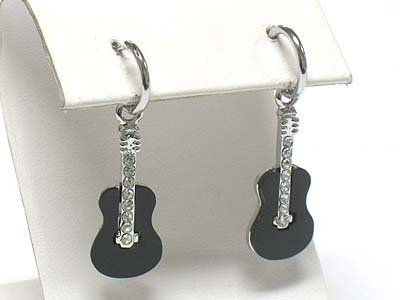 Guitar earrings(R965BK-43017)