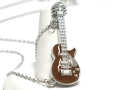 Epoxy miniature guitar necklace(R1241BR-2291)
