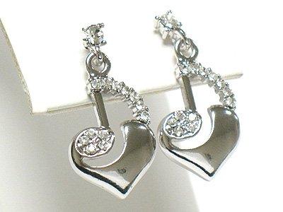 Music note heart drop earring(R941SL-61208)