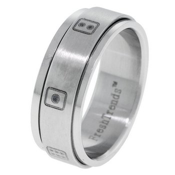 Casino Dice Laser Inlay Design Stainless Steel Spinner Ring(SSR-DICE)