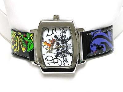 Designer inspired tattoo leather watch(U15101BK-61213)