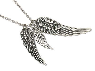 Crystal stone wings charm necklace(P1253BSL-101680)