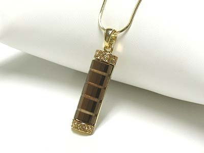 Glass bar pendant necklace(N1237BR-61201)