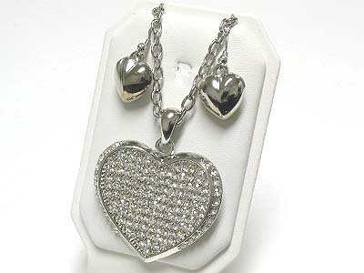 Large puffy heart pendant set(N1261SL-612122)