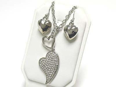Crystal heart long necklace set( N1253SL-612125)