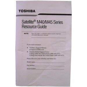 Toshiba Satellite M40/M45 Series Laptop User Manual
