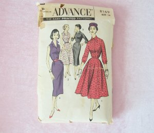 Vintage 50s Advance 8169 Shirtwaist Dress Sewing Pattern Slim Full Skirt  Size 16