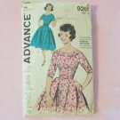 Vintage 60s Advance 9261  Bateau Collar Full Skirt Party Dress Sewing Pattern Size 16