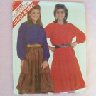 McCall's 8143 Peasant Top Skirt Pattern Round Neck Button Front Tiered Skirt Uncut