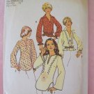Vintage 70's  Simplicity 6777 BOHO Long Sleeve Blouse Tunic Top Pattern Embroidery Transfer