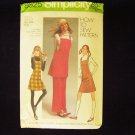 Vintage 1971 Simplicity  9525 Mini Jumper and Pants Pattern Simplicity No. 9525 Size 10