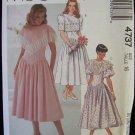McCall's 4737 Short Sleeve Dress Pattern Drop Waist Full Skirt Size 16