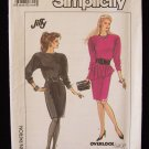 Vintage 80's Simplicity  8864 Fitted Dress Pattern Asymmetrical Peplum