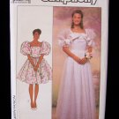 Simplicity 9102 Retro Prom Wedding Gown Dress Pattern Full Skirt Puff Sleeves