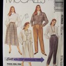 McCall's 4388 Cropped Jacket Blouse Full Skirt Pants Pattern Retro Dolman Sleeves 80's Uncut