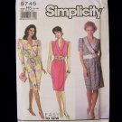 Simplicity 9745 Mock Wrap Surplice Dress Pattern Slim Fit Shawl Collar Front Size 6-14