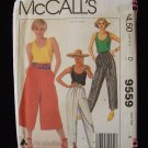 Vintage 80's McCall's 9559 Liz Claiborne Straight Pants Culottes Pattern Pleated Baggy Uncut