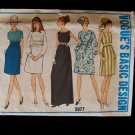 Vintage 60s Vogue Basic Design 2077 High Waist Dress Pattern Scoop Neck Evening Prom Dress