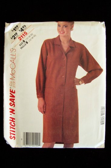 McCall�s 2115 Stitch N Save Coat Dress Sewing Pattern Vintage 80�s Uncut Size 12-16
