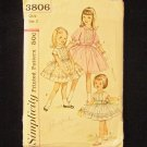 Vintage Simplicity  3806 Girl's Party Dress and Sash Pattern Full Skirt Summer