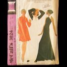 Vintage McCall's 3824 70's Evening Maxi Dress Sewing Pattern Sleeveless Large Collar