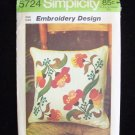 Simplicity  5724 Peasant Pillow Embroidery Transfer Pattern Vintage 70's