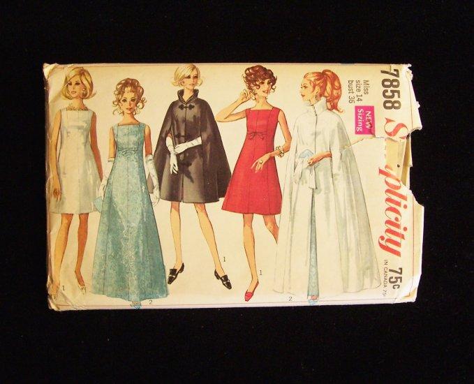 567b046c26 Vintage 60s Simplicity 7858 Square Neck Shift Evening Prom Dress Opera Cape Pattern  Uncut