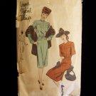 Vintage 40's Vogue S-4647 Special Design Cocktail Day Dress Pattern Collarless Neckline