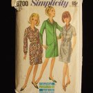 Vintage 60's Simplicity 6700 Button Front Slim Dress Pattern Notched Collar Size 18 ½