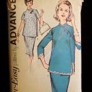 Vintage 60s  Advance  2725 Maternity Top Straight Skirt Pattern Mandarin Collar Asian Inspired