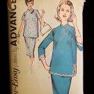 Vintage 60s  Advance  2725 Maternity Top Straight Skirt Pattern Mandarin Collar Asian Inspired