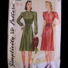 Vintage 1940s Simplicity  3583 Bishop Sleeve Pleated Skirt Dress Pattern Size 12