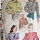 Simplicity 1535 40's Cropped Button Front Jacket Pattern Long Sleeve Size 12