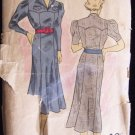 Vintage 30's DuBarry No 1590 Scalloped Yoke Flared Skirt Day Dress Pattern