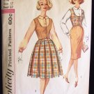 Vintage 60's Simplicity  3583 Blouse Weskit Skirt Pattern Peter Pan Collar Straight Full Skirt