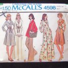 Vintage 70s McCall's 4598 Misses Dress or Top and Pants Pattern Flared Skirt Large Collar