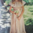 Vintage 80s Very Little Vogue 2358 Flower Girl Dress Pattern Ruffle Top Flared Skirt Size 12