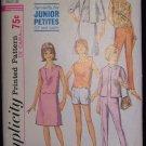 Vintage 60s Simplicity  6027 Box Jacket Top Skirt Pants Pattern Bateau Neckline Shaped Edge Petite