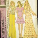 Vintage 70s McCalls 4028 Baby Doll Top or Dress Pattern Retro Prom Dress