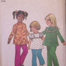 Vintage 70's Simplicity 5335 Girls Mandarin Collar Tunic and Pants Sewing Pattern Size 3 Uncut