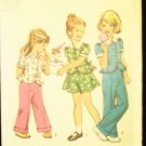 Vintage Simplicity 6120 Girls Peplum Top Skirt and Pants Sewing Pattern Peter Pan Collar