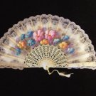 Vintage Hand Painted Pink Floral Folding Fan Lace Edge