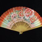 Vintage Paper Folding Fan Oriental Painted Floral Design Pink and Red