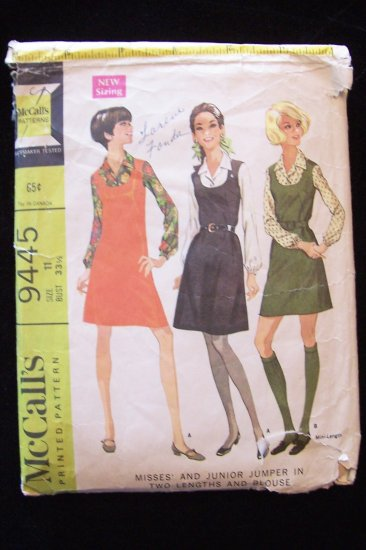 Vintage 60s McCall�s 9445 Mini Jumper Dress and Blouse Pattern